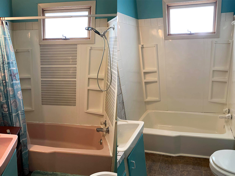 NuLook Resurfacing Pink tub to white tub in 1 day