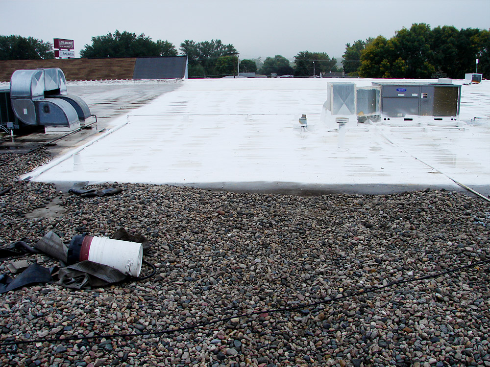 Northeast Nebraska Energy Systems, Inc. Spray Foam Roof over the old EPDM Rubber Roof - Commercial Roofing Services - NENES, Inc. in Norfolk, Nebraska